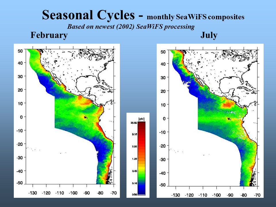 Seasonal Cycles - monthly SeaWiFS composites FebruaryJuly Based on newest (2002) SeaWiFS processing