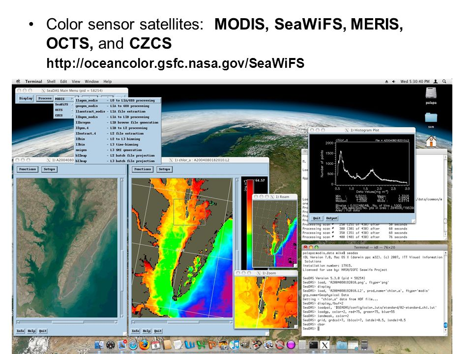 Color sensor satellites: MODIS, SeaWiFS, MERIS, OCTS, and CZCS
