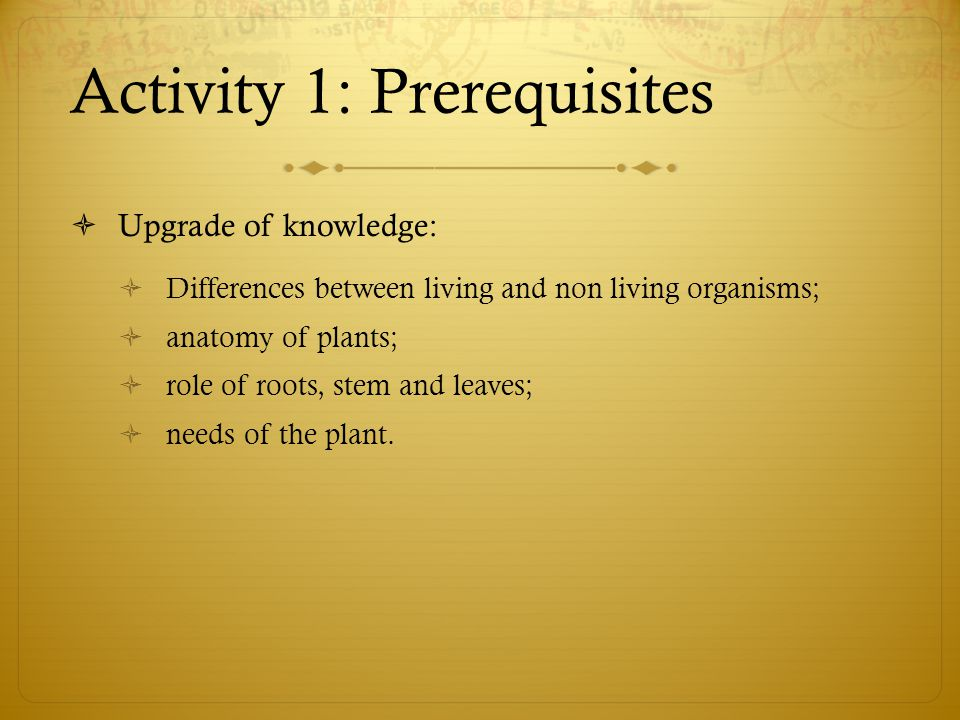 Activity 1: Prerequisites  Upgrade of knowledge:  Differences between living and non living organisms;  anatomy of plants;  role of roots, stem and leaves;  needs of the plant.
