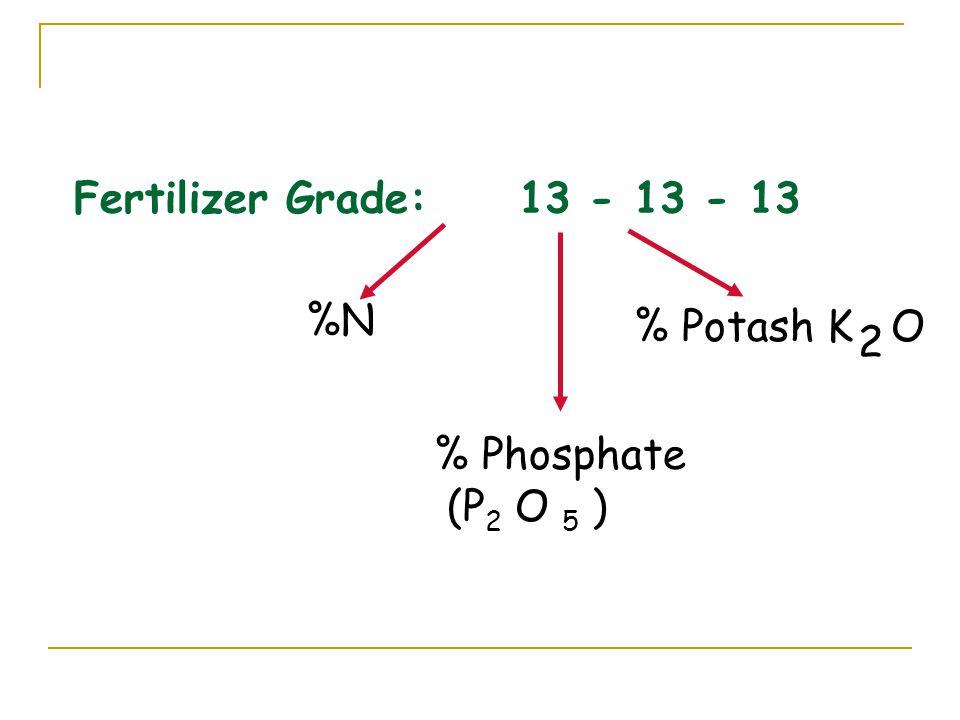 Fertilizer Grade: 13 - 13 - 13 %N % Phosphate (P 2 O 5 ) % Potash K O 2