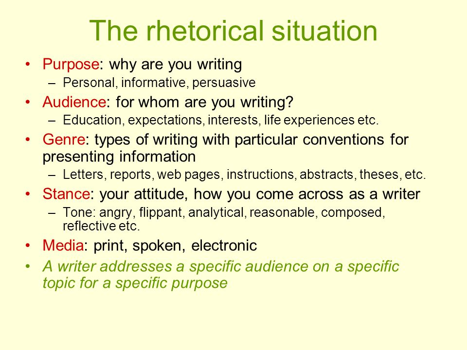 The rhetorical situation Purpose: why are you writing –Personal, informative, persuasive Audience: for whom are you writing.