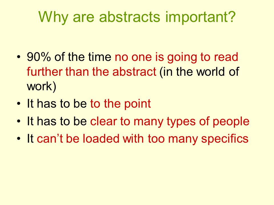 Why are abstracts important.