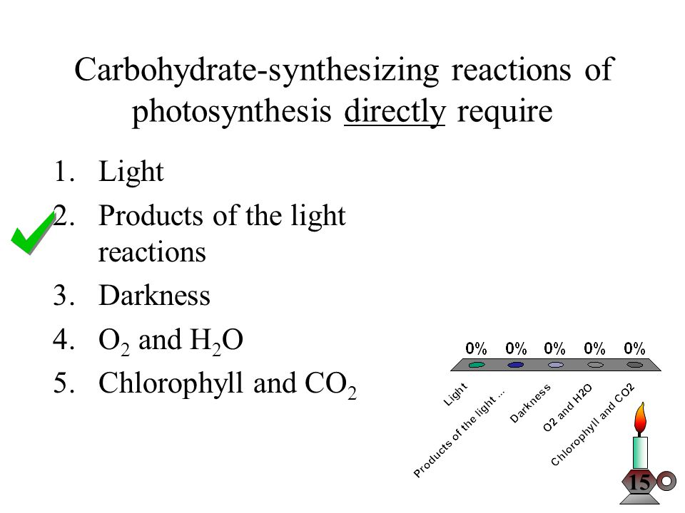 The O 2 released during photosynthesis comes from 1.CO 2 2.H 2 O 3.NADPH 4.RuBP (RuDP) 5.C 6 H 12 O 6 15