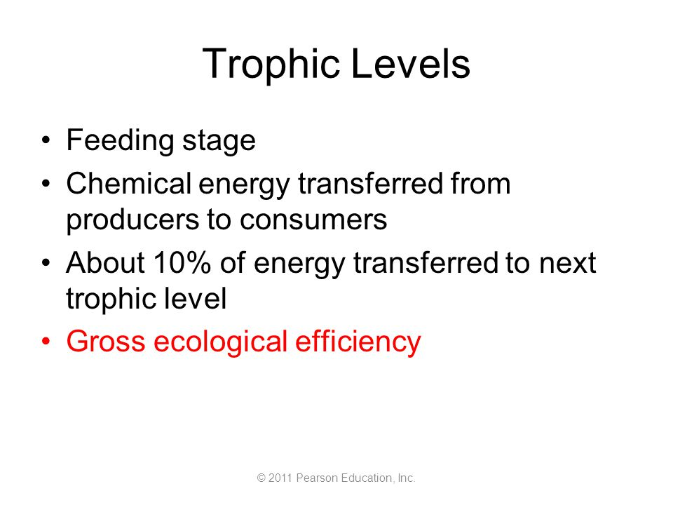 © 2011 Pearson Education, Inc. Trophic Levels Feeding stage Chemical energy transferred from producers to consumers About 10% of energy transferred to