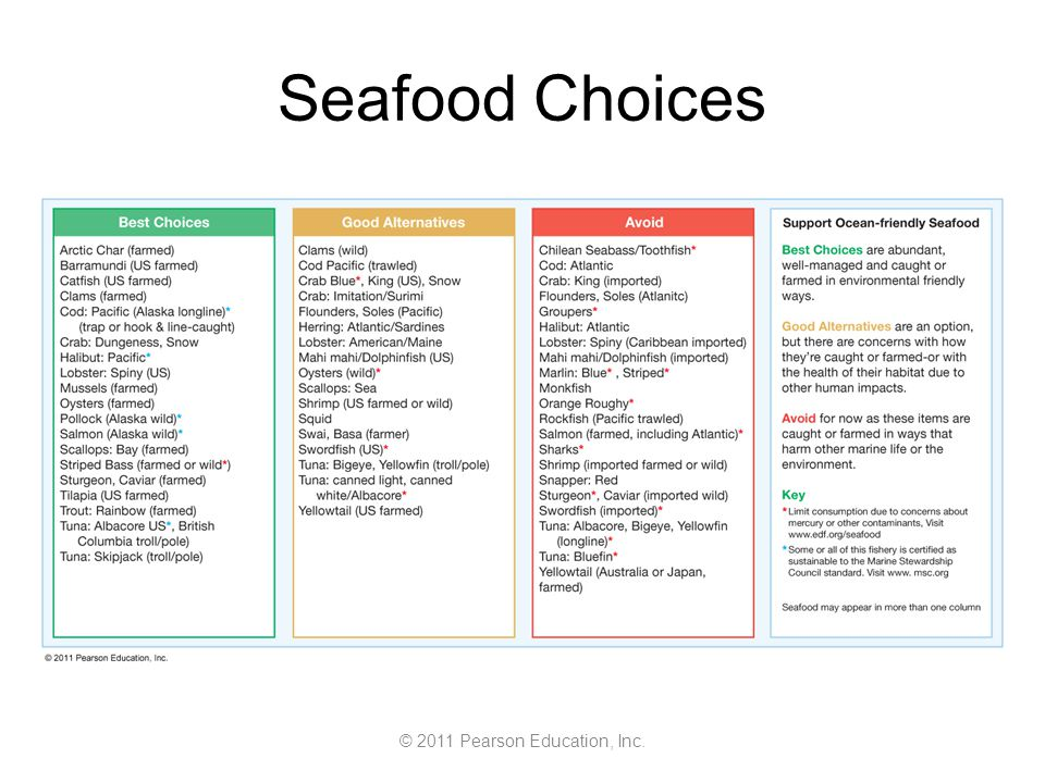 © 2011 Pearson Education, Inc. Seafood Choices