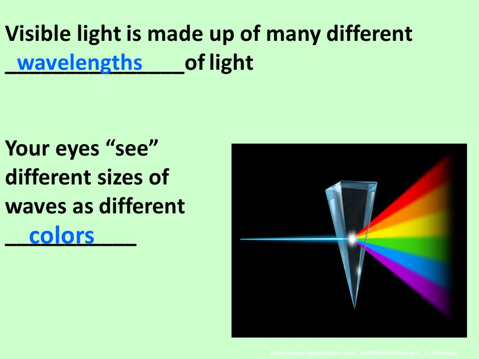 Visible light is made up of many different _______________of light Your eyes see different sizes of waves as different ___________ http://www.simontucket.com/_Portfolio/PortLarge/L_Il_Prism.jpg wavelengths colors