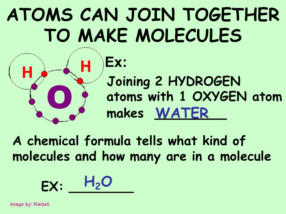 ATOMS CAN JOIN TOGETHER TO MAKE MOLECULES Ex: Joining 2 HYDROGEN atoms with 1 OXYGEN atom makes ________ WATER Image by: Riedell A chemical formula tells what kind of molecules and how many are in a molecule EX: ________ H2OH2O