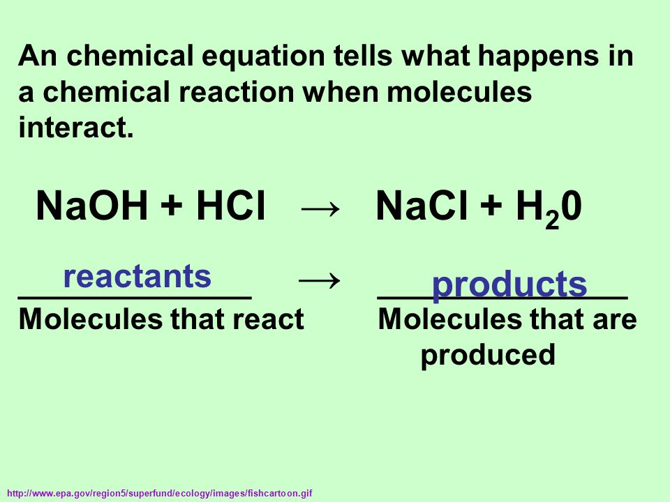 An chemical equation tells what happens in a chemical reaction when molecules interact. NaOH + HCl → NaCl + H 2 0 ______________ _______________ Molec