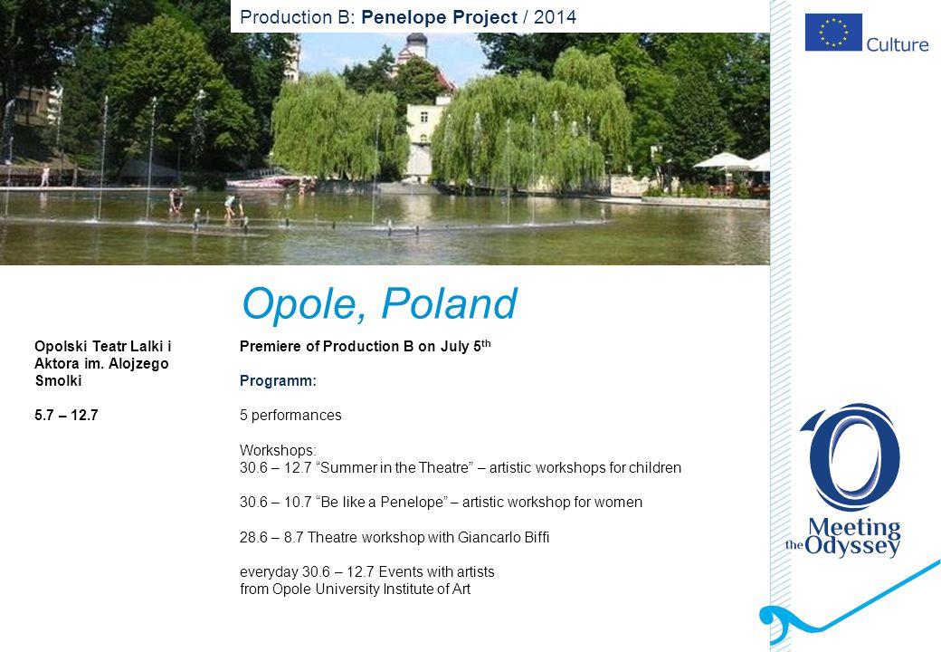 Opole, Poland Opolski Teatr Lalki i Aktora im. Alojzego Smolki 5.7 – 12.7 Premiere of Production B on July 5 th Programm: 5 performances Workshops: 30