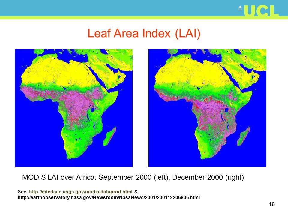 16 See: http://edcdaac.usgs.gov/modis/dataprod.html & http://earthobservatory.nasa.gov/Newsroom/NasaNews/2001/200112206806.htmlhttp://edcdaac.usgs.gov/modis/dataprod.html Leaf Area Index (LAI) MODIS LAI over Africa: September 2000 (left), December 2000 (right)