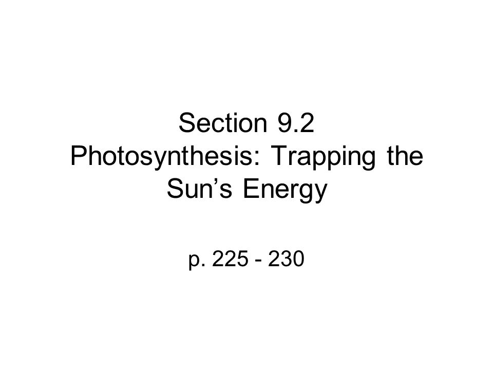 Section 9.2 Photosynthesis: Trapping the Sun's Energy p. 225 - 230