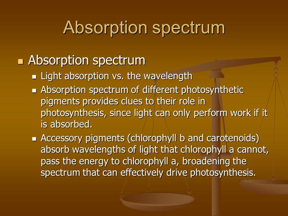 Absorption spectrum Absorption spectrum Absorption spectrum Light absorption vs.