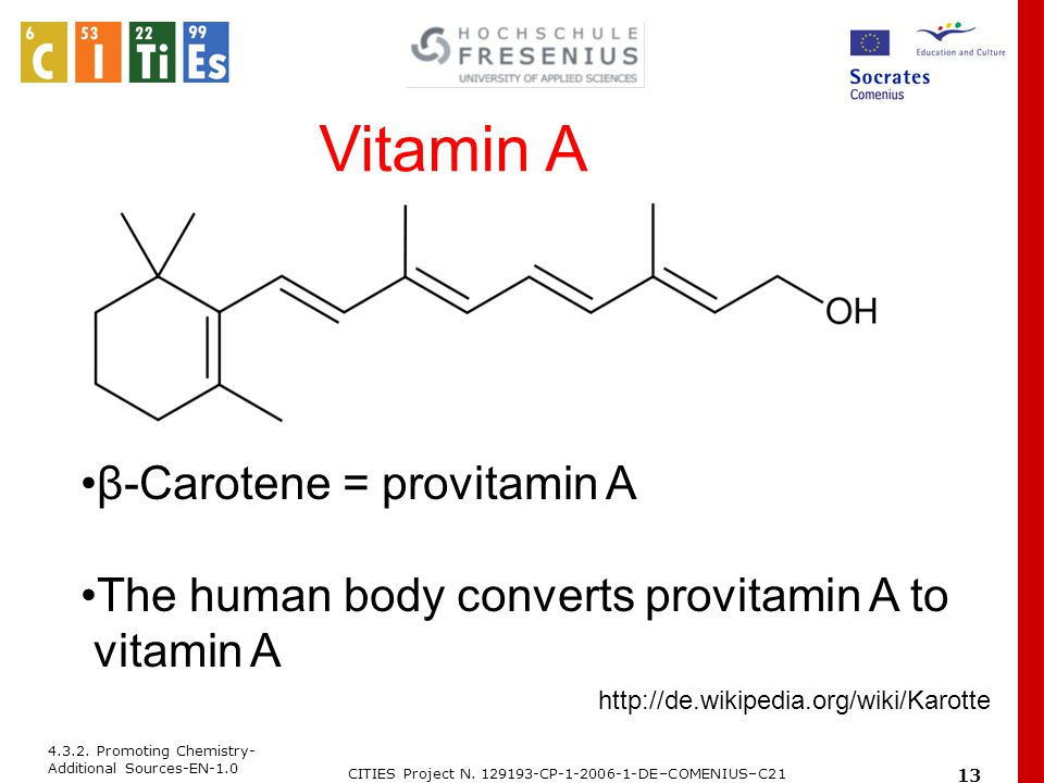 4.3.2. Promoting Chemistry- Additional Sources-EN-1.0 CITIES Project N. 129193-CP-1-2006-1-DE–COMENIUS–C21 13 Vitamin A β-Carotene = provitamin A The