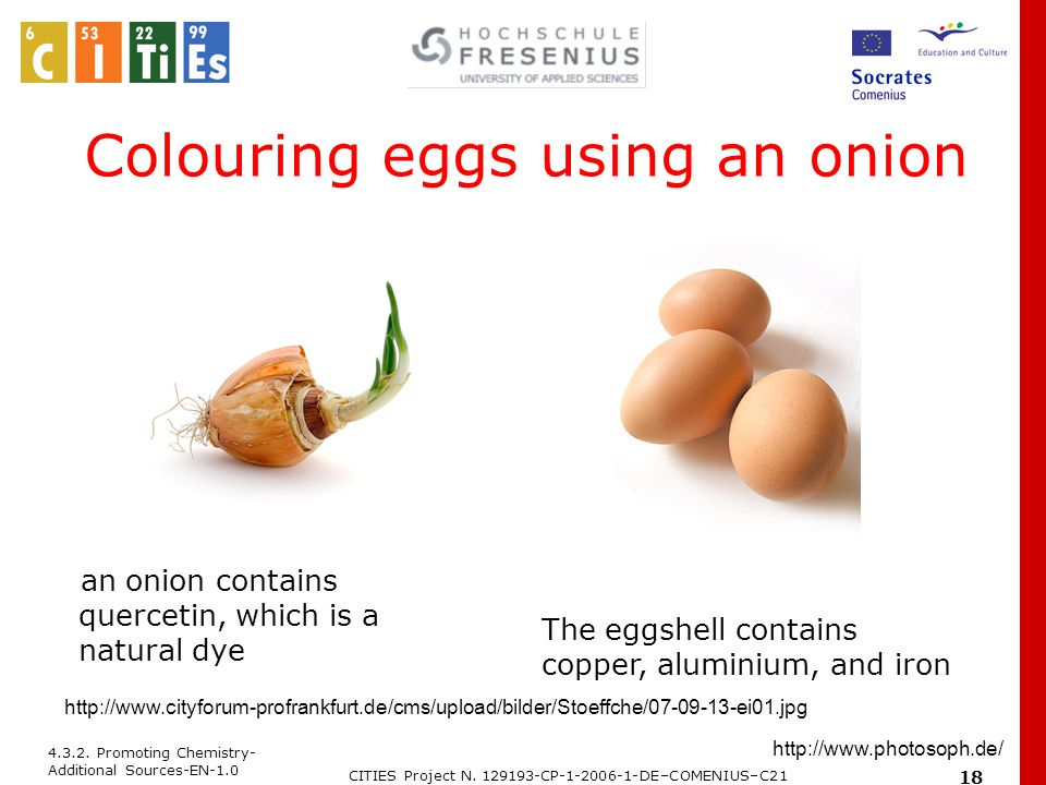 4.3.2. Promoting Chemistry- Additional Sources-EN-1.0 CITIES Project N. 129193-CP-1-2006-1-DE–COMENIUS–C21 18 Colouring eggs using an onion an onion c