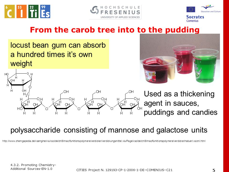 4.3.2. Promoting Chemistry- Additional Sources-EN-1.0 CITIES Project N. 129193-CP-1-2006-1-DE–COMENIUS–C21 5 From the carob tree into to the pudding l