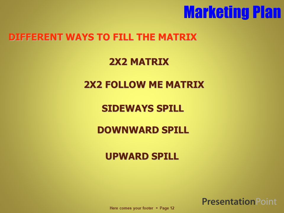 Marketing Plan Here comes your footer  Page 11 WAYS TO EARN DIRECT SALES COMMISSION – P500 DIRECT SALES COMMISSION – P500 2 X 2 FOLLOW ME MATRIX WITH P8000 CYCLE BONUS 2 X 2 FOLLOW ME MATRIX WITH P8000 CYCLE BONUS UNILEVEL BONUS UNILEVEL BONUS INFINITY BONUS INFINITY BONUS STOCKIST PROGRAM STOCKIST PROGRAM
