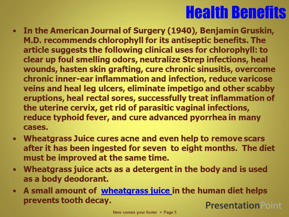 Health Benefits In the American Journal of Surgery (1940), Benjamin Gruskin, M.D.