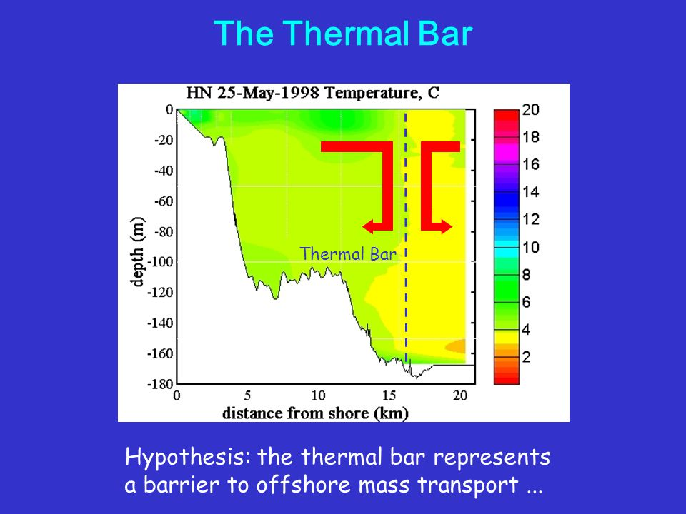 The Thermal Bar Hypothesis: the thermal bar represents a barrier to offshore mass transport...