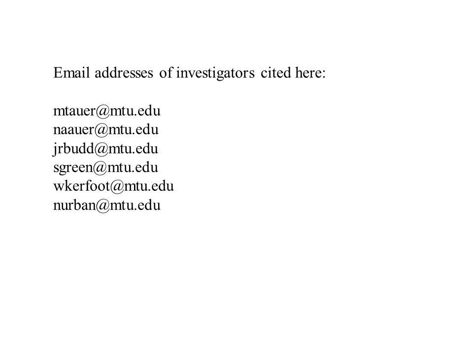Email addresses of investigators cited here: mtauer@mtu.edu naauer@mtu.edu jrbudd@mtu.edu sgreen@mtu.edu wkerfoot@mtu.edu nurban@mtu.edu