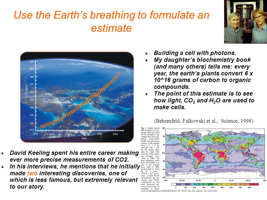 Use the Earth's breathing to formulate an estimate Building a cell with photons.