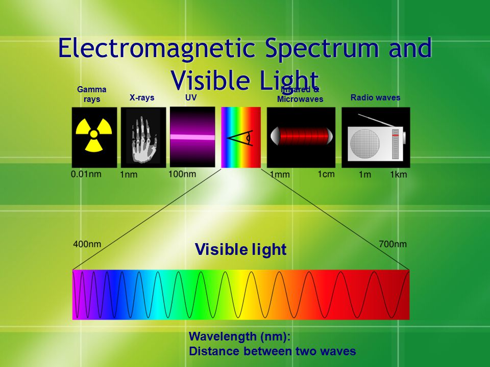 Electromagnetic Spectrum and Visible Light Gamma rays X-raysUV Infrared & Microwaves Radio waves Visible light Wavelength (nm): Distance between two w