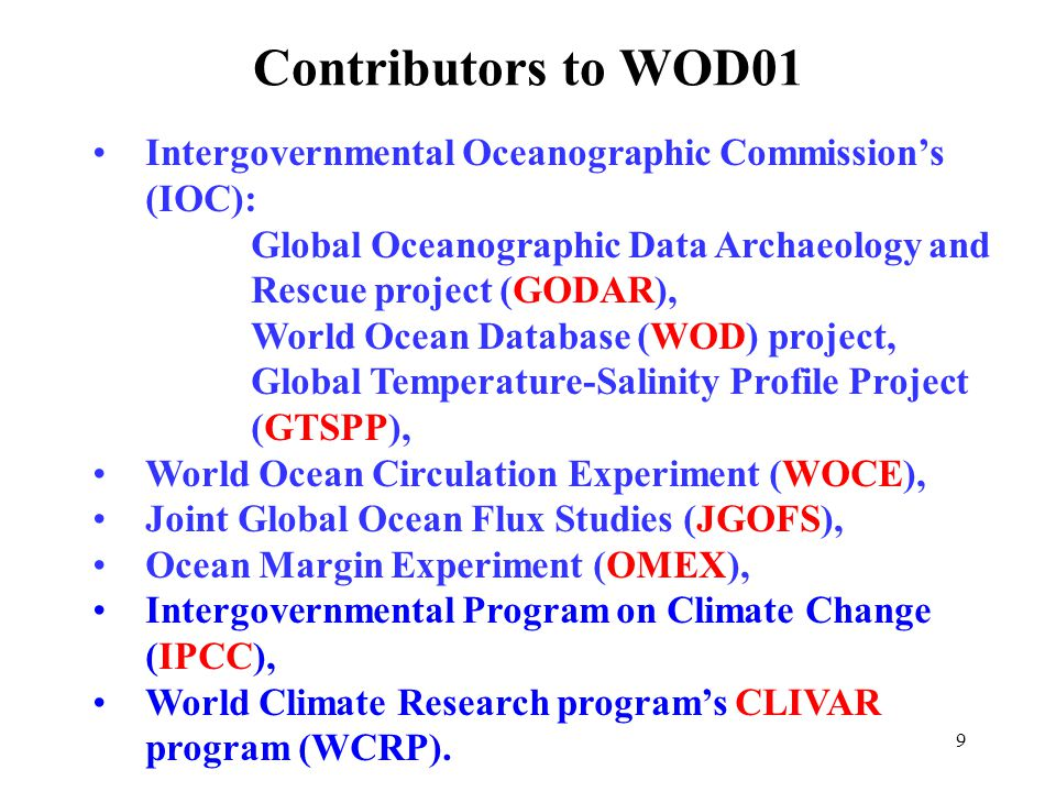 10 Utility of NODC/WDC profile-plankton data as indicated by citations in the scientific literature* *Based on a search of the ISI Scientific Citation Index as of March 2004