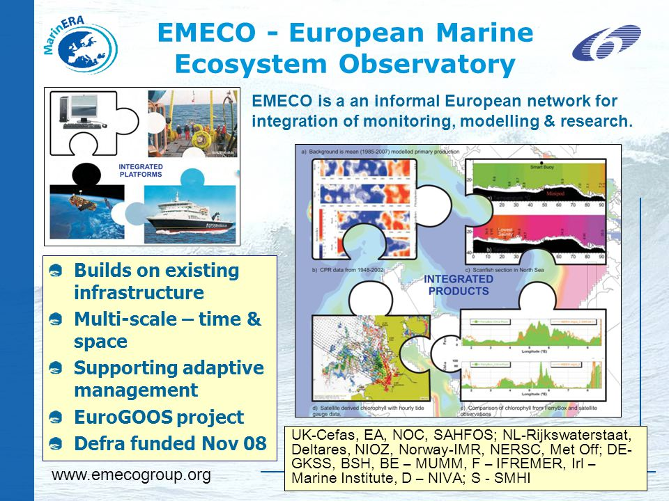 EMECO - European Marine Ecosystem Observatory UK-Cefas, EA, NOC, SAHFOS; NL-Rijkswaterstaat, Deltares, NIOZ, Norway-IMR, NERSC, Met Off; DE- GKSS, BSH, BE – MUMM, F – IFREMER, Irl – Marine Institute, D – NIVA; S - SMHI Builds on existing infrastructure Multi-scale – time & space Supporting adaptive management EuroGOOS project Defra funded Nov 08 EMECO is a an informal European network for integration of monitoring, modelling & research.