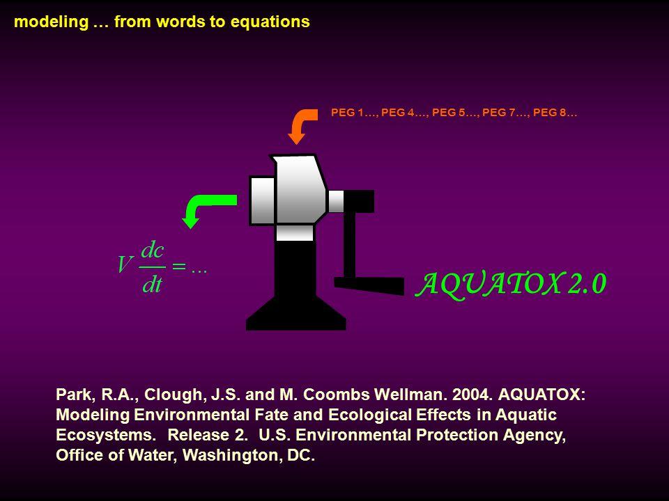 modeling … from words to equations PEG 1…, PEG 4…, PEG 5…, PEG 7…, PEG 8… AQUATOX 2.0 Park, R.A., Clough, J.S. and M. Coombs Wellman. 2004. AQUATOX: M