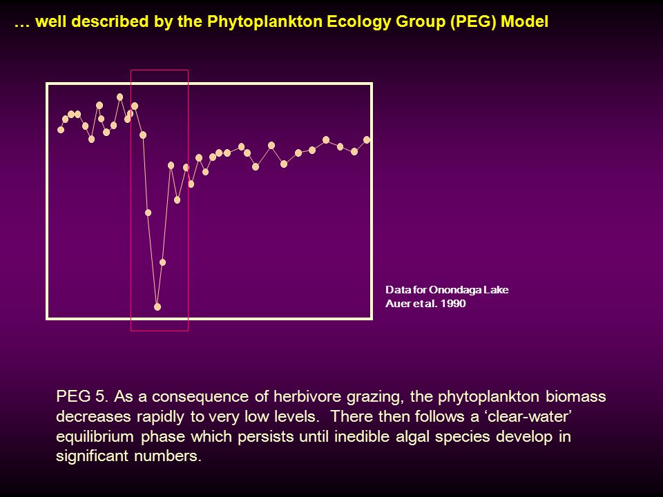 … well described by the Phytoplankton Ecology Group (PEG) Model Data for Onondaga Lake Auer et al.