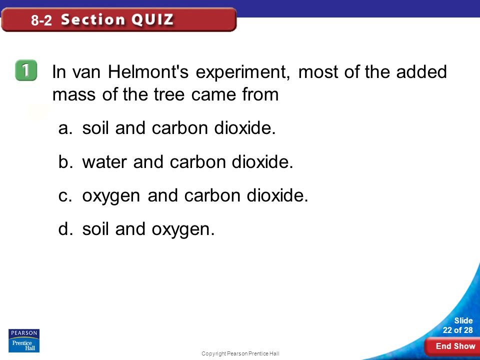 End Show Slide 22 of 28 Copyright Pearson Prentice Hall 8-2 In van Helmont s experiment, most of the added mass of the tree came from a.soil and carbon dioxide.
