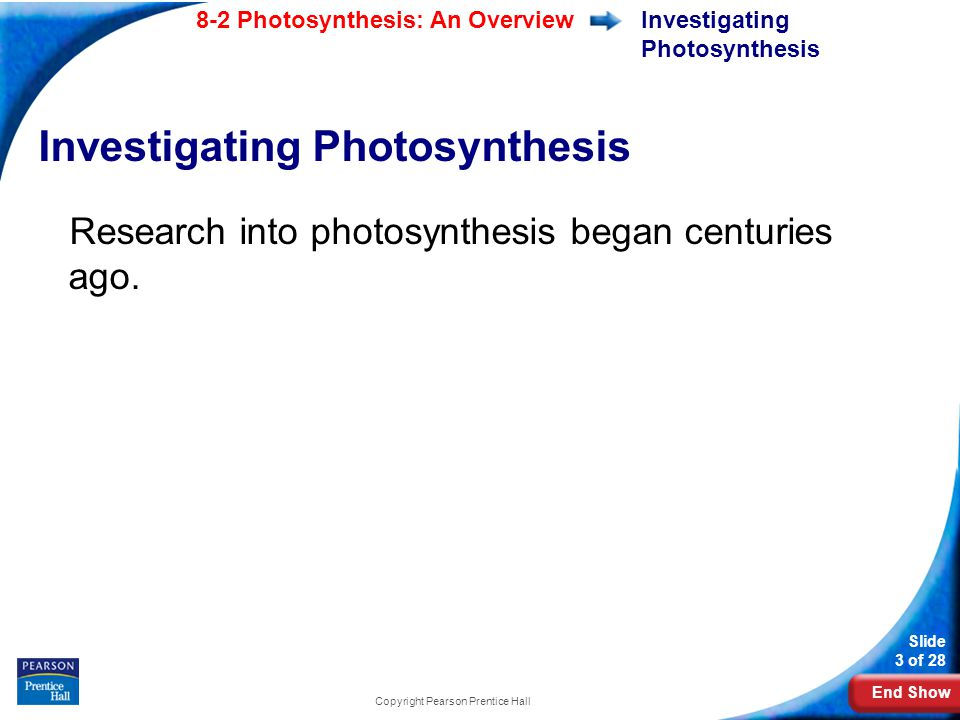 End Show Slide 3 of 28 8-2 Photosynthesis: An Overview Copyright Pearson Prentice Hall Investigating Photosynthesis Research into photosynthesis began centuries ago.