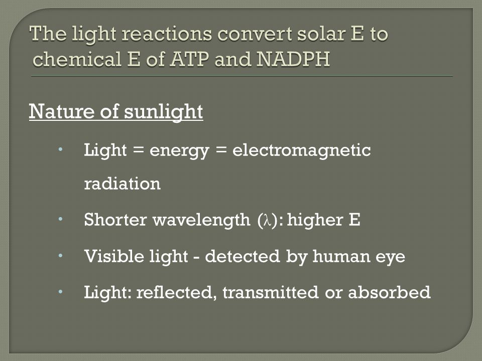 Nature of sunlight  Light = energy = electromagnetic radiation  Shorter wavelength ( λ ): higher E  Visible light - detected by human eye  Light: reflected, transmitted or absorbed