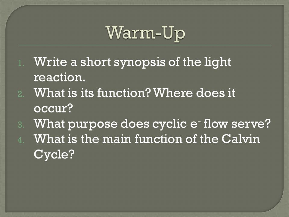 1.Write a short synopsis of the light reaction. 2.