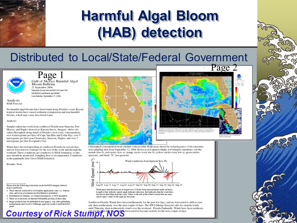 Harmful Algal Bloom (HAB) detection Distributed to Local/State/Federal Government Page 1 Page 2 Courtesy of Rick Stumpf, NOS
