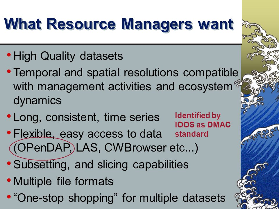 What Resource Managers want High Quality datasets Temporal and spatial resolutions compatible with management activities and ecosystem dynamics Long,