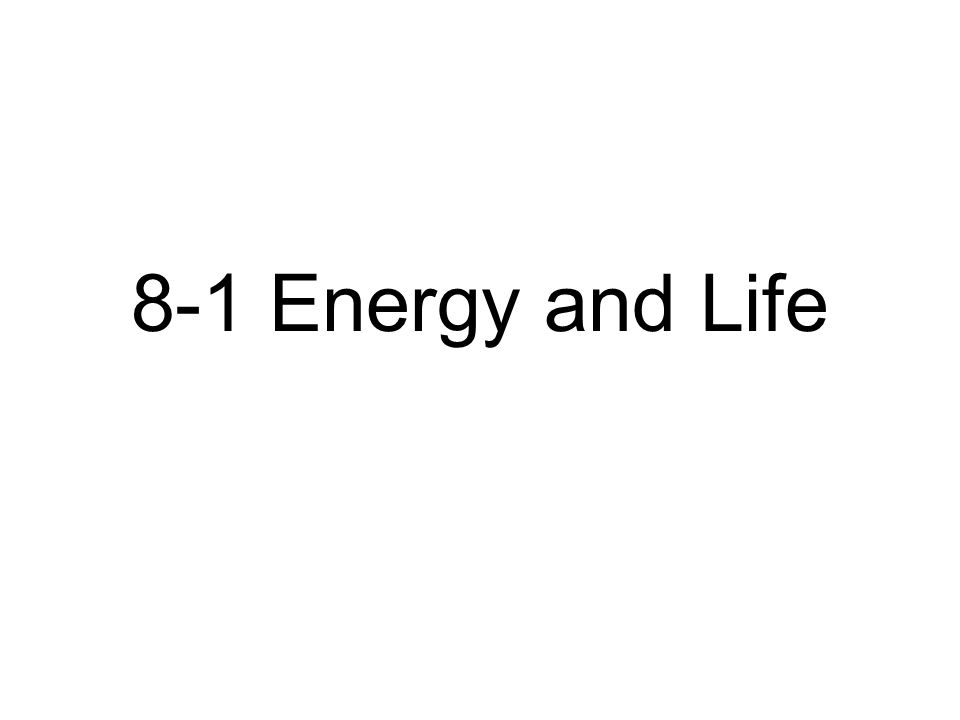 8-1 Energy and Life