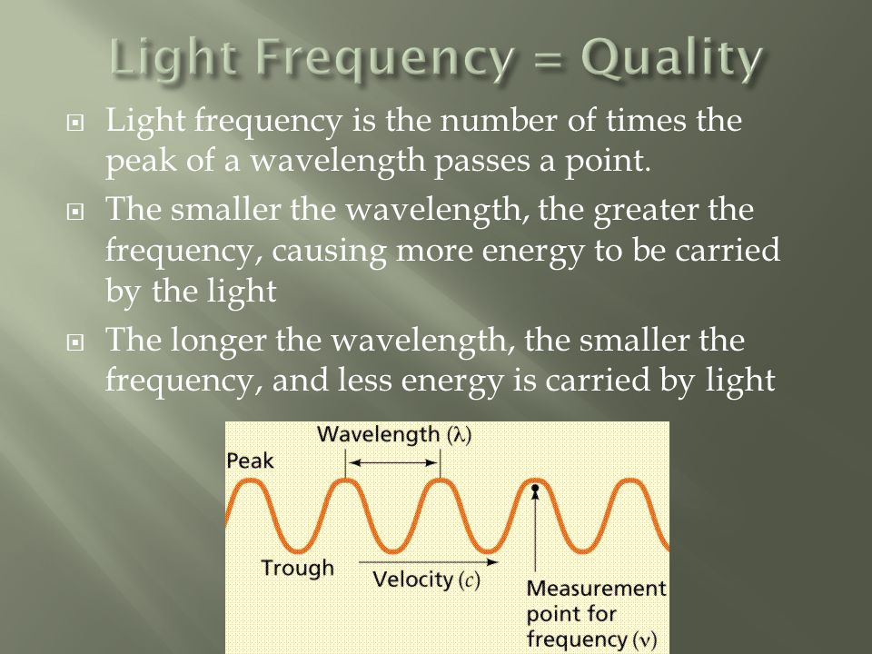  Light frequency is the number of times the peak of a wavelength passes a point.