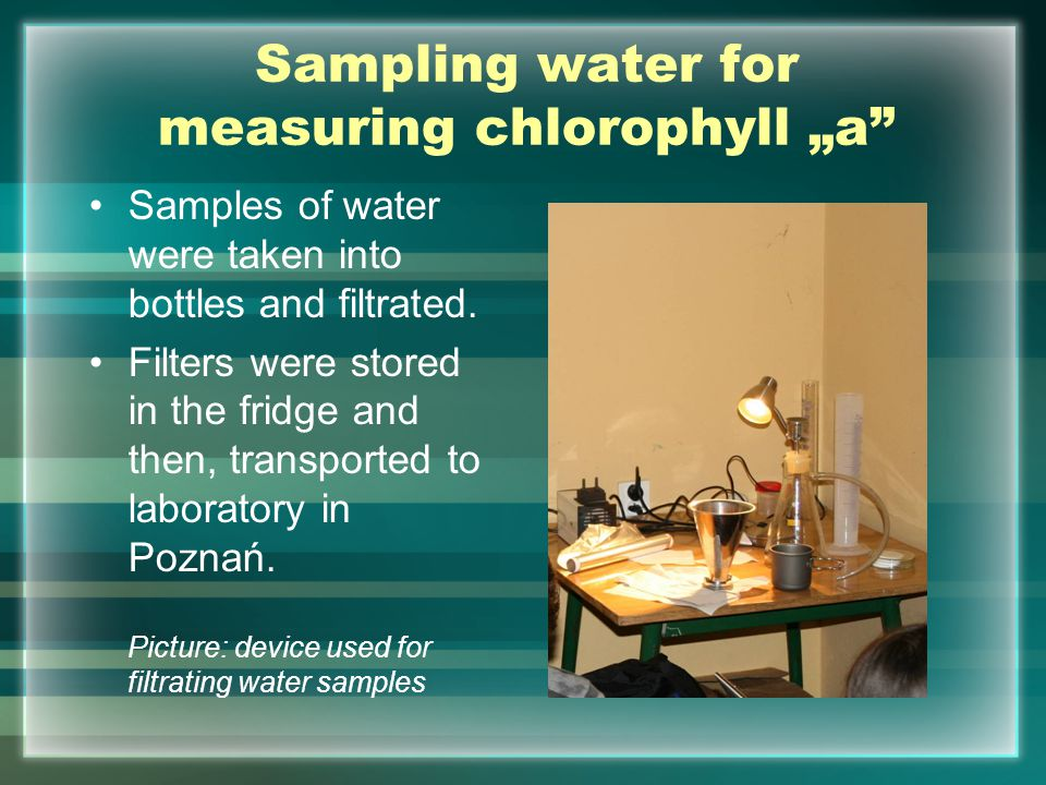 "Sampling water for measuring chlorophyll ""a"" Samples of water were taken into bottles and filtrated. Filters were stored in the fridge and then, trans"
