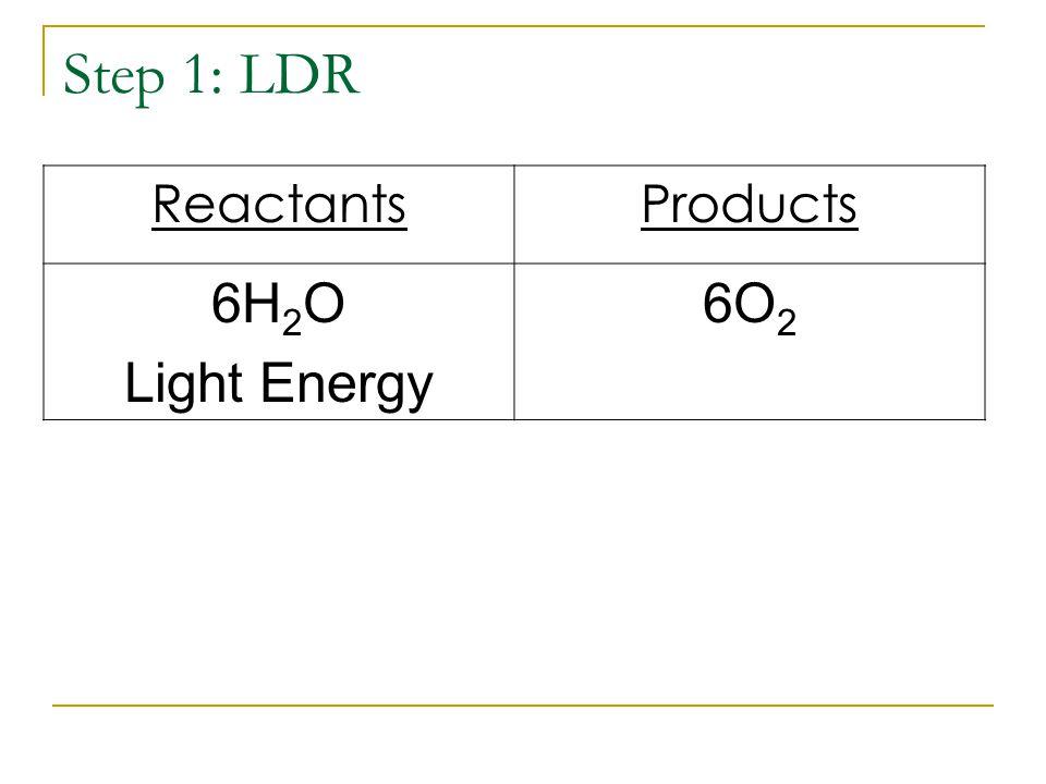 Step 1: LDR ReactantsProducts 6H 2 O Light Energy 6O 2