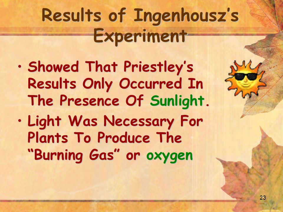 23 Results of Ingenhousz's Experiment Showed That Priestley's Results Only Occurred In The Presence Of Sunlight.Showed That Priestley's Results Only Occurred In The Presence Of Sunlight.