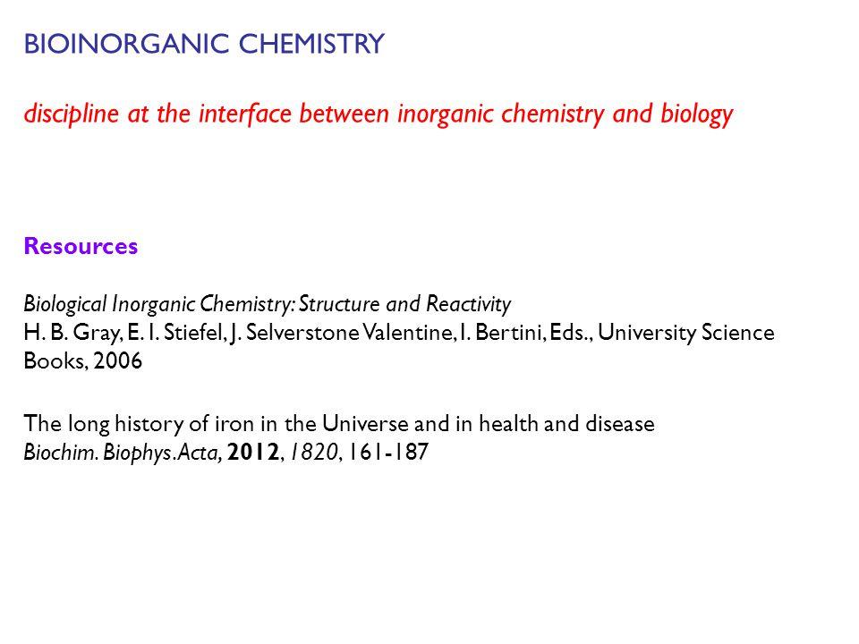 BIOINORGANIC CHEMISTRY discipline at the interface between inorganic chemistry and biology Resources Biological Inorganic Chemistry: Structure and Rea