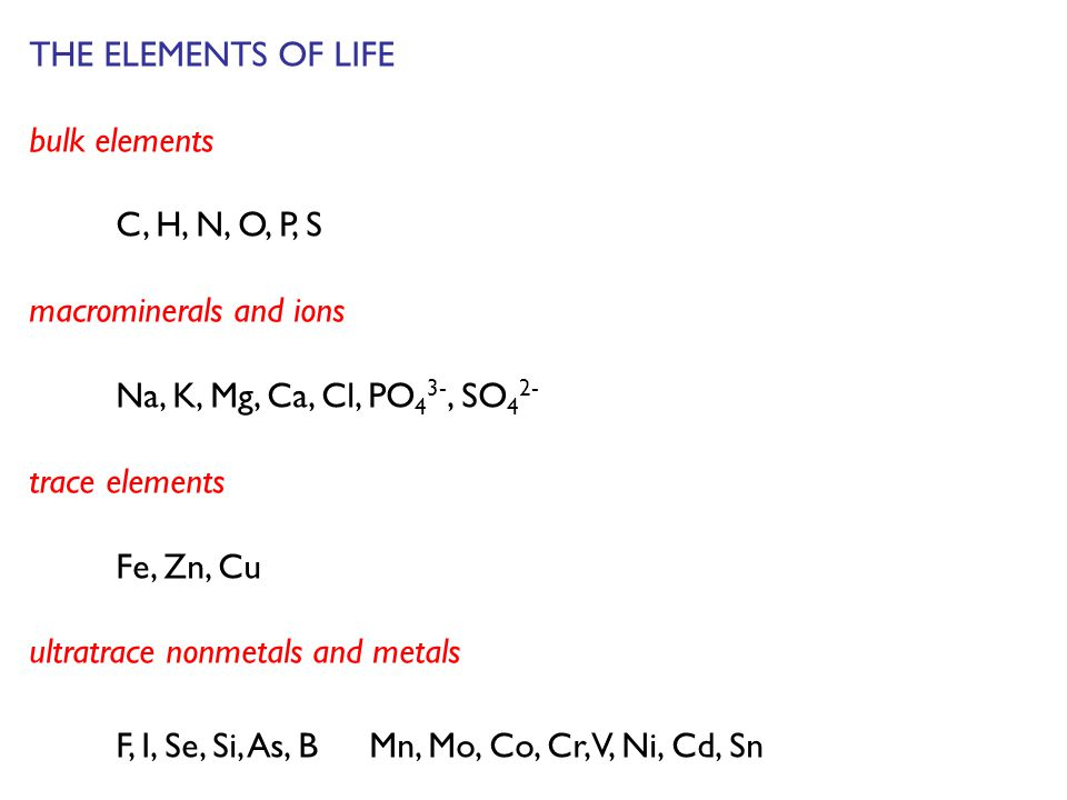THE ELEMENTS OF LIFE bulk elements C, H, N, O, P, S macrominerals and ions Na, K, Mg, Ca, Cl, PO 4 3-, SO 4 2- trace elements Fe, Zn, Cu ultratrace nonmetals and metals F, I, Se, Si, As, B Mn, Mo, Co, Cr, V, Ni, Cd, Sn