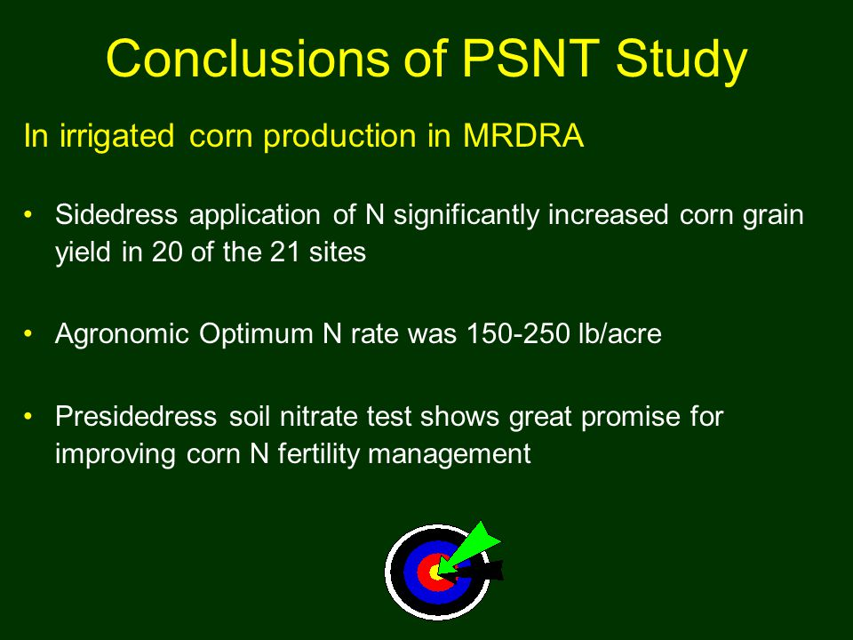 Conclusions of PSNT Study In irrigated corn production in MRDRA Sidedress application of N significantly increased corn grain yield in 20 of the 21 sites Agronomic Optimum N rate was 150-250 lb/acre Presidedress soil nitrate test shows great promise for improving corn N fertility management
