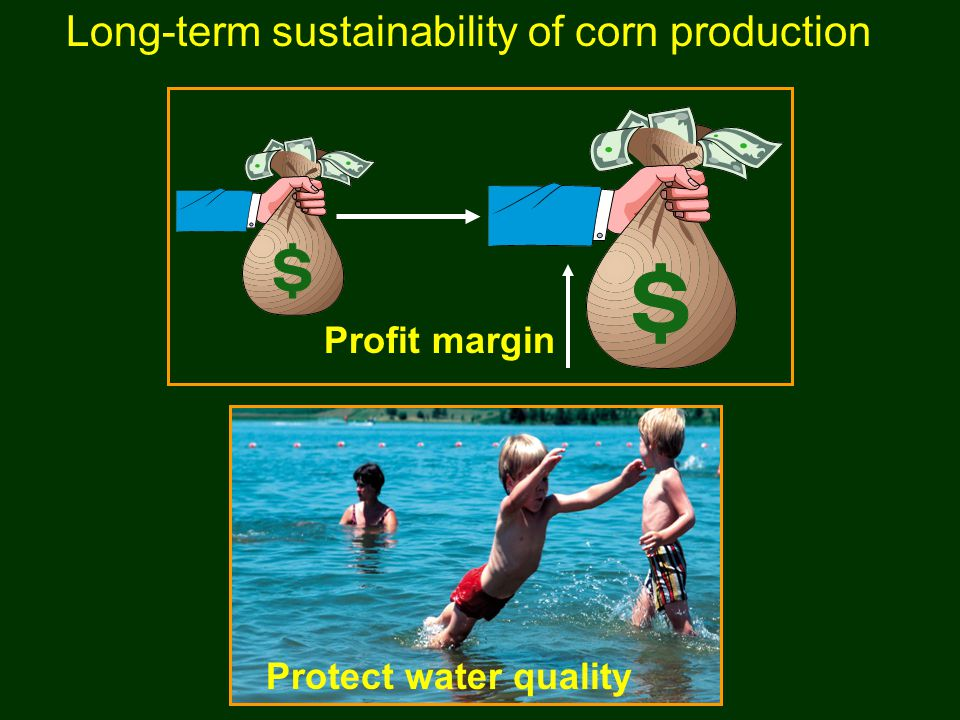Long-term sustainability of corn production Protect water quality Profit margin