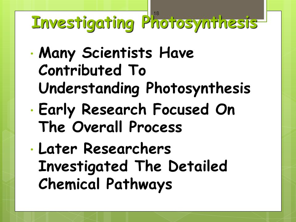 Investigating Photosynthesis Many Scientists Have Contributed To Understanding Photosynthesis Many Scientists Have Contributed To Understanding Photosynthesis Early Research Focused On The Overall Process Early Research Focused On The Overall Process Later Researchers Investigated The Detailed Chemical Pathways Later Researchers Investigated The Detailed Chemical Pathways 18