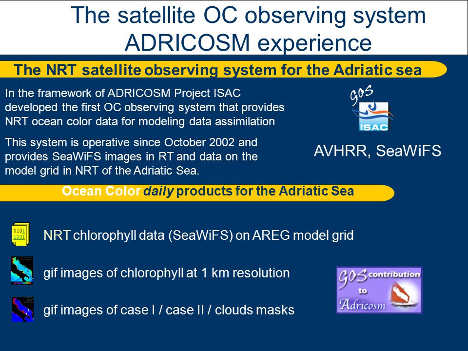 AVHRR, SeaWiFS The NRT satellite observing system for the Adriatic sea The satellite OC observing system ADRICOSM experience In the framework of ADRICOSM Project ISAC developed the first OC observing system that provides NRT ocean color data for modeling data assimilation This system is operative since October 2002 and provides SeaWiFS images in RT and data on the model grid in NRT of the Adriatic Sea.