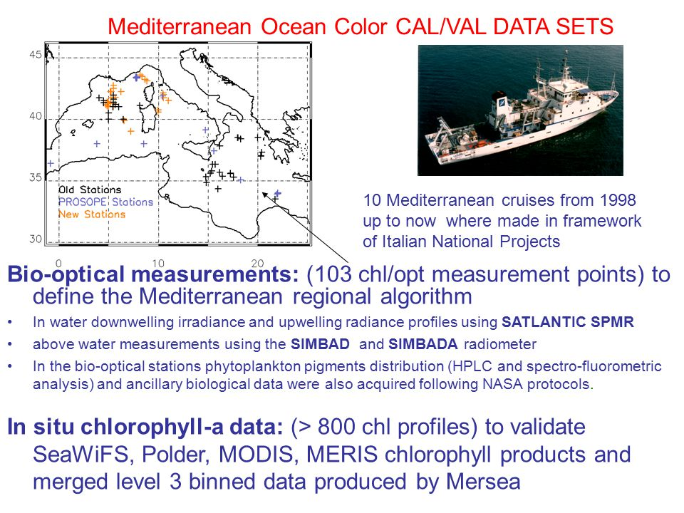 Bio-optical measurements: (103 chl/opt measurement points) to define the Mediterranean regional algorithm In water downwelling irradiance and upwelling radiance profiles using SATLANTIC SPMR above water measurements using the SIMBAD and SIMBADA radiometer In the bio-optical stations phytoplankton pigments distribution (HPLC and spectro-fluorometric analysis) and ancillary biological data were also acquired following NASA protocols.