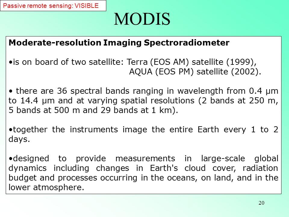 20 Specifications Orbit705 km, 10:30 a.m.descending node (Terra) or 1:30 p.m.