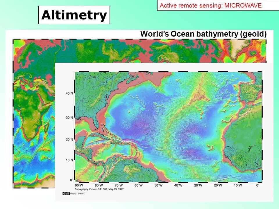55 World's Ocean bathymetry (geoid) Altimetry Active remote sensing: MICROWAVE
