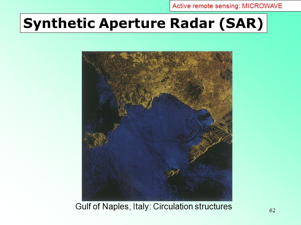 62 Synthetic Aperture Radar (SAR) Gulf of Naples, Italy: Circulation structures Active remote sensing: MICROWAVE